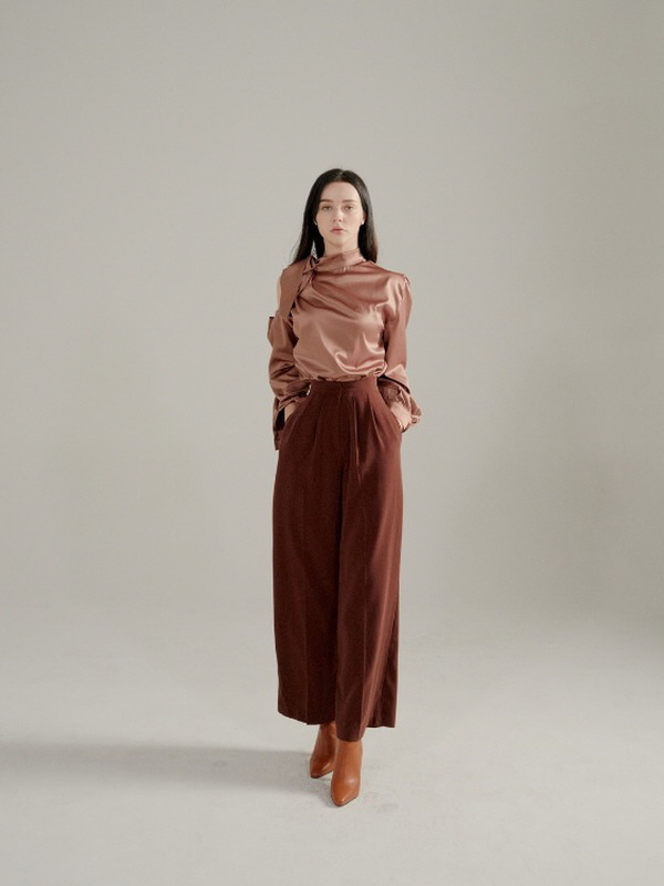 097. Wide-leg Trousers / BURGUNDY BROWN