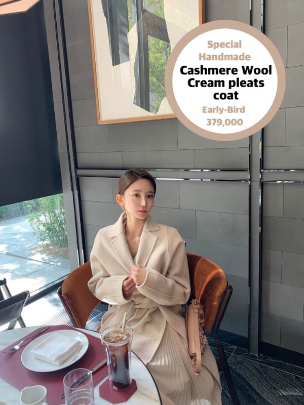 Special Handmade Cashmere Wool Cream pleats coat 스페셜 핸드메이드 크림 플리츠코트 < 울 캐시미어 >