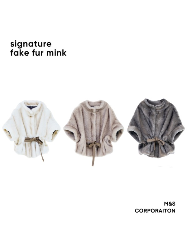 "Signature fake fur mink coat cape "" 퍼 케이프 """