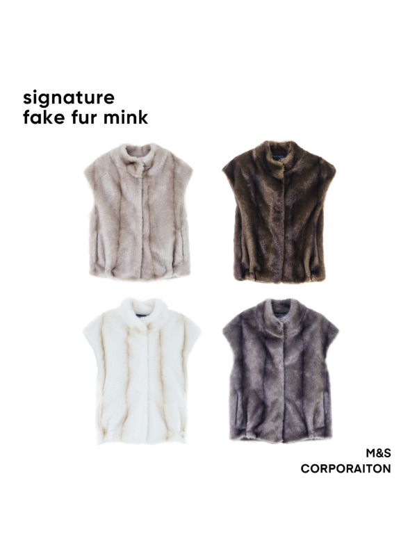 "Signature fake fur mink coat vest "" 퍼 베스트 """