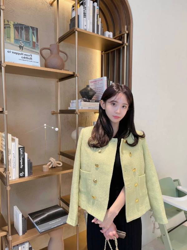 Lime no collar short jacket 라임 노카라 숏 자켓